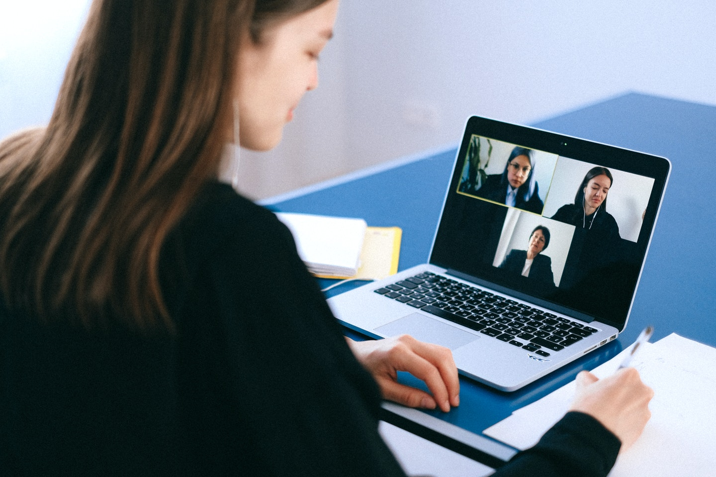 Job interview via Zoom video call with other colleagues